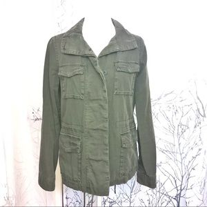 Green button up utility jacket